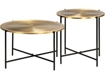 Ensemble de tables 2 pcs MDF recouvert de laiton - vidaXL