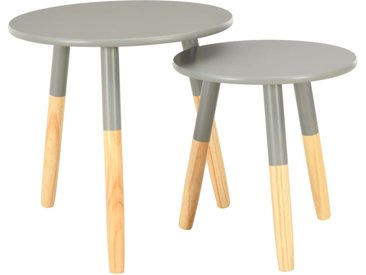 Tables d'appoint 2 pcs Gris Pin massif - vidaXL