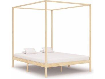 Cadre de lit à baldaquin Bois de pin massif 180 x 200 cm - vidaXL