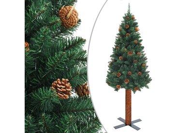 Sapin de Noël mince avec bois véritable et cônes Vert 210cm PVC - vidaXL
