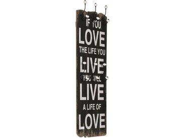 Porte-manteau mural avec 6 crochets 120 x 40 cm LOVE LIVE  - vidaXL