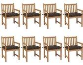 Chaises de jardin 8 pcs avec coussins taupe Bois de teck solide - vidaXL