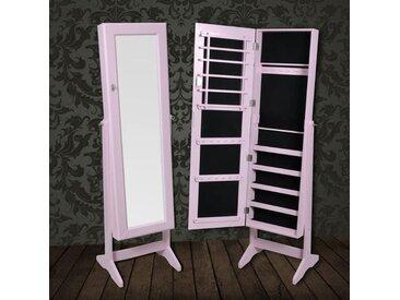 Armoire à Bijoux rangement miroir meuble chambre rose - vidaXL