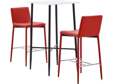 Ensemble de bar 3 pcs Similicuir Rouge - vidaXL