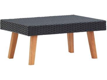 Table basse de jardin Résine tressée Noir - vidaXL
