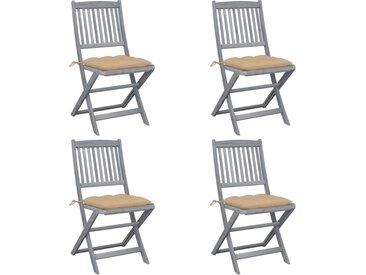 Chaises pliables d'extérieur 4 pcs avec coussins Bois d'acacia - vidaXL
