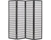 Cloison de séparation 4 panneaux Style japonais 160x170 cm Noir - vidaXL
