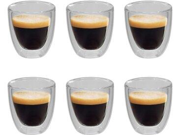 6 pcs Verres thermos à double paroi pour café expresso 80 ml  - vidaXL