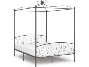 Cadre de lit à baldaquin Gris Métal 160 x 200 cm - vidaXL