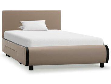 Cadre de lit avec tiroirs Cappuccino Similicuir 100 x 200 cm - vidaXL
