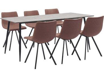 Ensemble de salle à manger 7 pcs Marron moyen Similicuir - vidaXL