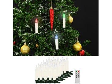 Bougies LED sans fil de Noël avec télécommande 30 pcs RVB - vidaXL