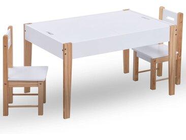 Ensemble de table et chaises pour enfants 3 pcs Noir et blanc - vidaXL