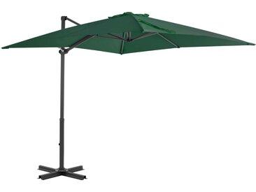 Parasol en porte-à-faux et mât en aluminium 250x250 cm Vert - vidaXL