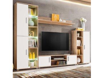 Meuble TV mural avec lumière LED Chêne sonoma et blanc - vidaXL