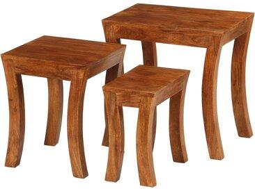Table gigogne 3 pcs Bois massif d'acacia 50x35x50 cm Marron - vidaXL