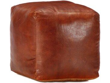 Pouf 40 x 40 x 40 cm Brun roux Cuir véritable de chèvre - vidaXL