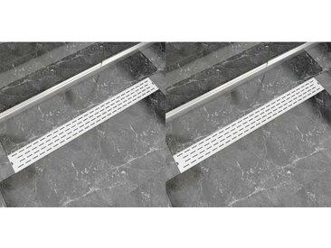 Drain de douche linéaire 2pcs Ligne 1030x140mm Acier inoxydable - vidaXL