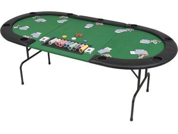 Table de poker pliable pour 9 joueurs 3 plis Ovale Vert - vidaXL