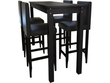 Set de 1 table de bar et 4 tabourets noir - vidaXL
