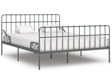 Cadre de lit et sommier à lattes Gris Métal 200 x 200 cm - vidaXL