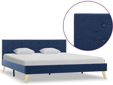 Cadre de lit Bleu Tissu 160 x 200 cm - vidaXL