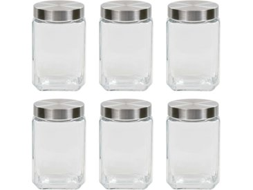 Pots de conservation avec couvercle argenté 6 pcs 1700 ml - vidaXL