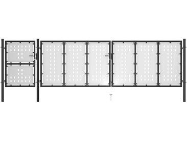 Portail de jardin Acier 500 x 125 cm Noir - vidaXL