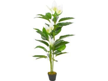 Plante artificielle Anthurium avec pot Blanc 155 cm - vidaXL