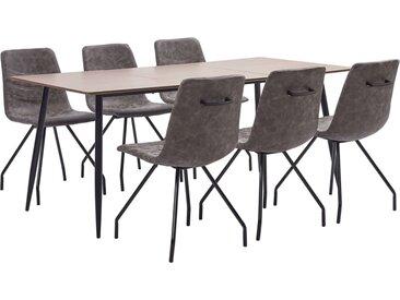Ensemble de salle à manger 7 pcs Marron foncé Similicuir - vidaXL
