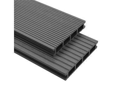 Panneaux de terrasse avec accessoires WPC 16 m² 2,2 m Gris   - vidaXL