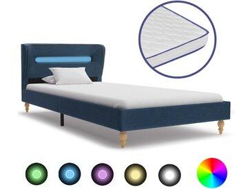 Lit avec LED et matelas à mémoire de forme Bleu Tissu 90x200 cm - vidaXL