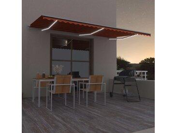 Auvent manuel rétractable avec LED 600x300 cm Orange et marron  - vidaXL