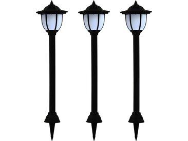 Lampe solaire à LED d'extérieur 3 pcs Noir - vidaXL