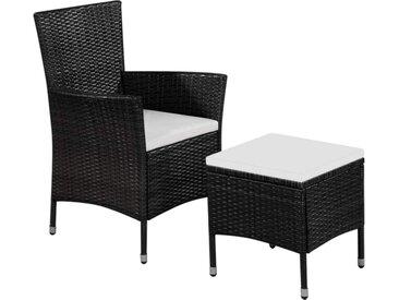 Chaise et tabouret d'extérieur et coussins Résine tressée Noir - vidaXL
