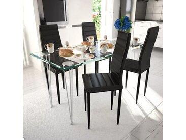 Lot de 4 chaises noires aux lignes fines avec une table en verre - vidaXL
