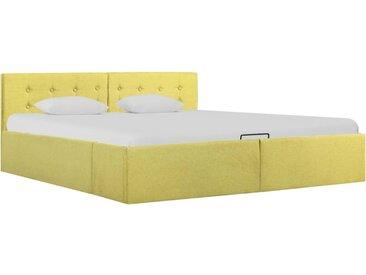 Cadre de lit à stockage hydraulique Jaune lime Tissu 160x200 cm  - vidaXL