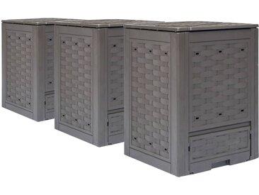 Composteurs de jardin 3 pcs Marron 60x60x83 cm 900 L - vidaXL