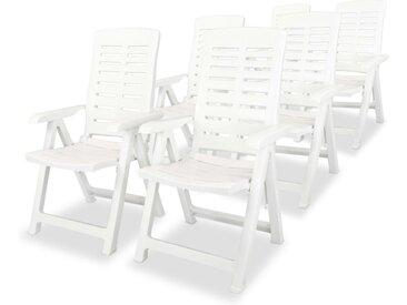 Chaises inclinables de jardin 6 pcs Plastique Blanc - vidaXL