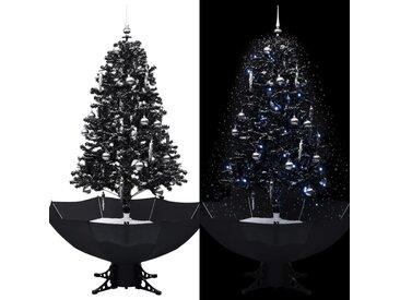 Arbre de Noël neigeux avec base de parapluie Noir 170 cm PVC - vidaXL