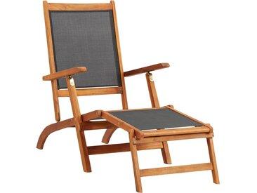 Chaise longue Bois d'acacia solide et textilène - vidaXL