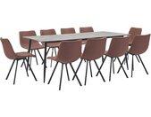 Ensemble de salle à manger 11 pcs Marron moyen Similicuir - vidaXL