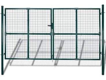 Portail de Clôture en Grillage Galvanisée 289 x 200 cm / 306 x 250 cm - vidaXL