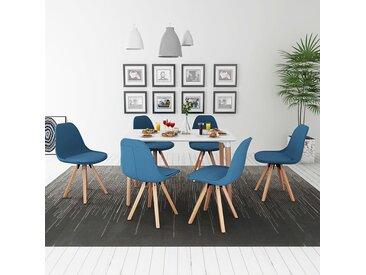 Ensemble de table et chaise à manger 7 pièces Blanc et bleu - vidaXL