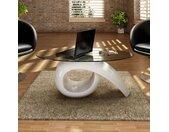Table basse avec dessus de table en verre ovale Blanc brillant  - vidaXL