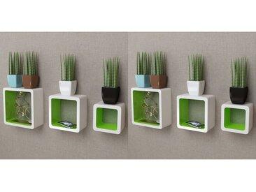 Étagères murales Forme de cube 6 pcs Blanc et vert - vidaXL