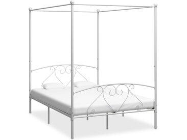 Cadre de lit à baldaquin Blanc Métal 140 x 200 cm  - vidaXL