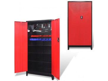 Armoire à outils avec 2 portes Acier 90x40x180 cm Noir et rouge - vidaXL