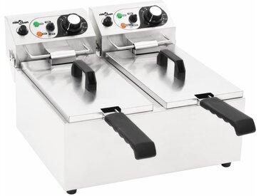 Friteuse double électrique Acier inoxydable 12 L 4000 W - vidaXL