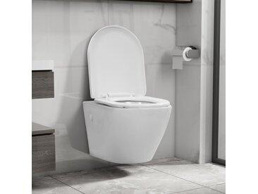 Toilette suspendue au mur sans rebord Céramique Blanc - vidaXL